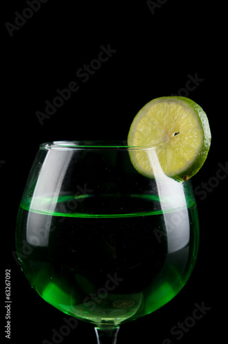 lemon drink in a wine glass