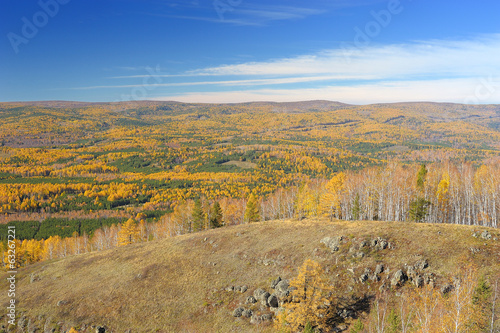 Golden fall in Ural mountain range