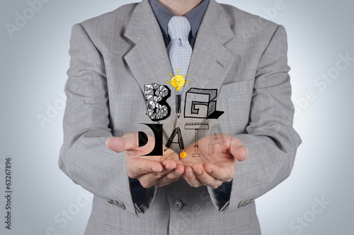 business hand show drawing graphic design BIG DATA word as conce