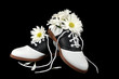 saddle shoes with daisy bouquet