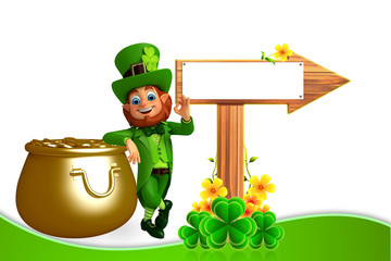 Leprechaun for patrick's day with wooden arrow