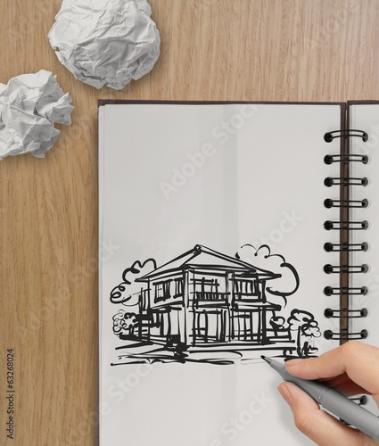 hand drawing house on wrinkled paper with wooden table as concep