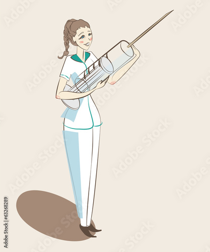 nurse standing with a large syringe