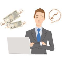 ビジネスマン パソコン 男性 お金 予算 困る 悩む