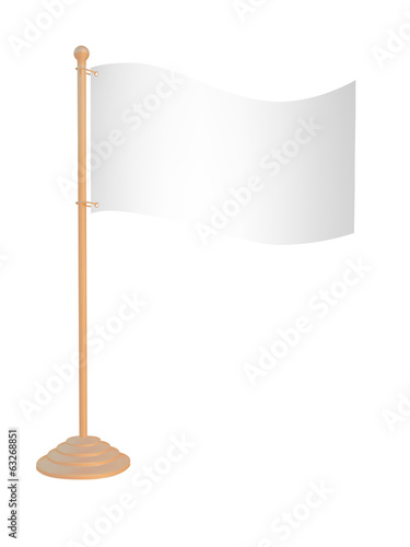 Flags on stand. Isolated on white