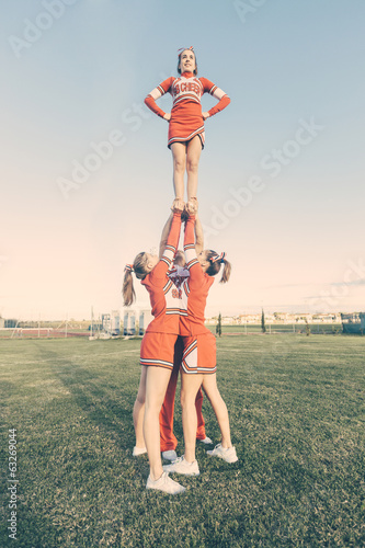 Group of Cheerleaders in the Field