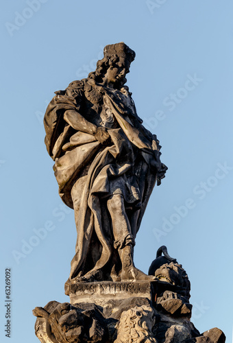 Staue on the Charles Bridge in Prague, Czech Republic.