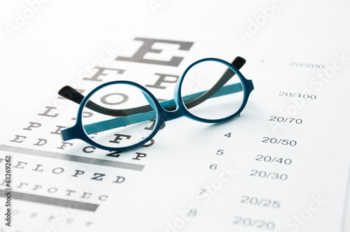 Leinwanddruck Bild Glasses on eye chart