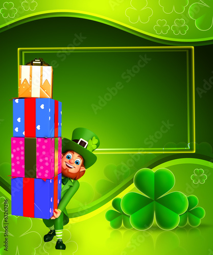 Leprechaun for patrick's day with gift boxs