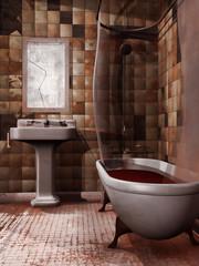 Upiorna łazienka z krwią