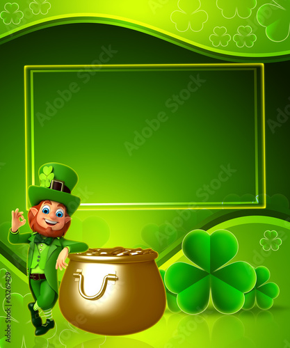 Leprechaun for patrick's day with golden pot ,