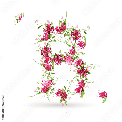 Floral letter B for your design