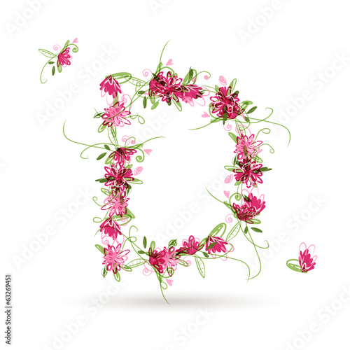 Floral letter D for your design