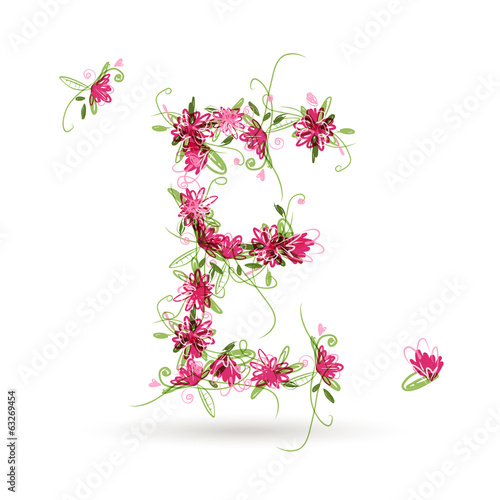 Floral letter E for your design