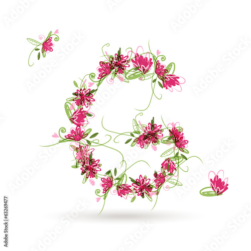 Floral letter G for your design