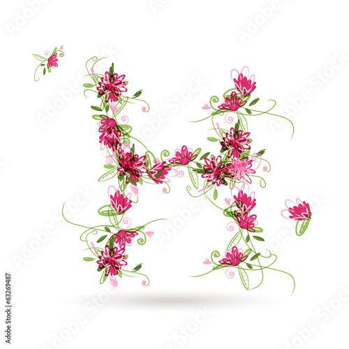 Floral letter H for your design