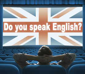 """Do you speak English?"" phrase on wide cinema screen"