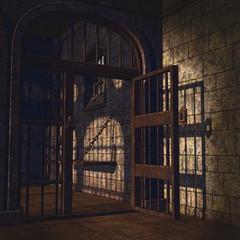 Zardzewiałe kraty w starym więzieniu