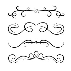 Calligraphic design element set .