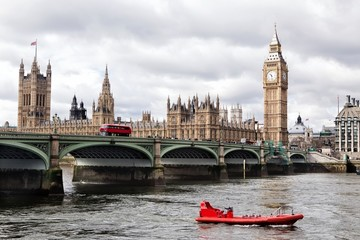 Houses of the British parliament and river Thames