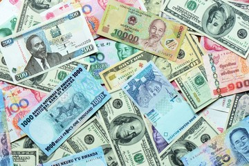 Various currency paper, banking and finance, money savings