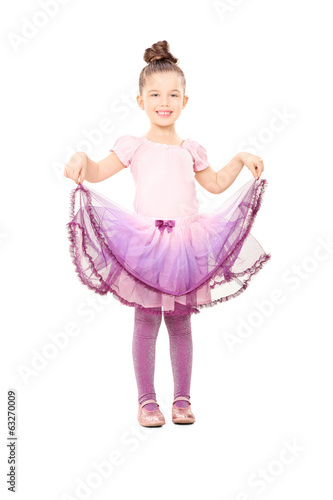 Cute little girl dressed up like ballerina