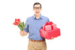 Man holding flowers and presents