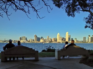 Couples on Bench with a view of Downtown San Diego Skyline