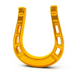 Golden horseshoe, symbol of luck and fortune, 3d