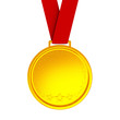 Blank gold medal with red ribbon, 3d