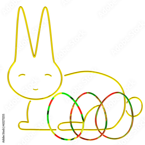 Easter bunny with colorful Easter eggs, 3d
