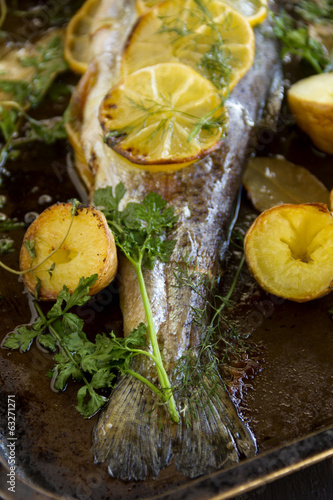 Baked Rainbow Trout Tail