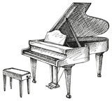 Vector drawing of open grand piano and stool for musician