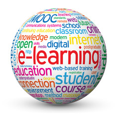 """E-LEARNING"" Tag Cloud Globe (education training studies mooc)"