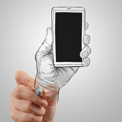 Hand drawn hands with mobile phone as concept