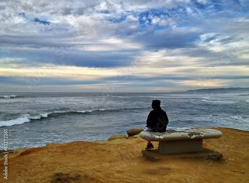 Sunset Cliffs Beach with Dramatic Clouds, Point Loma, San Diego