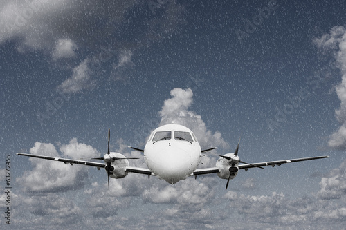 Airplane in the rain