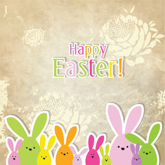 Easter card with copy space, easter bunny