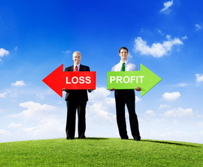 Two Businessmen Holding Contrasting Arrows for Loss and Profit