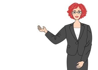 案内するスーツの女性