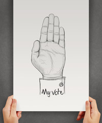 hand drawn Hand raised with MY VOTE text as concept