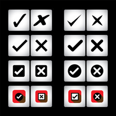 tick mark & cross sign vector icons set on black background