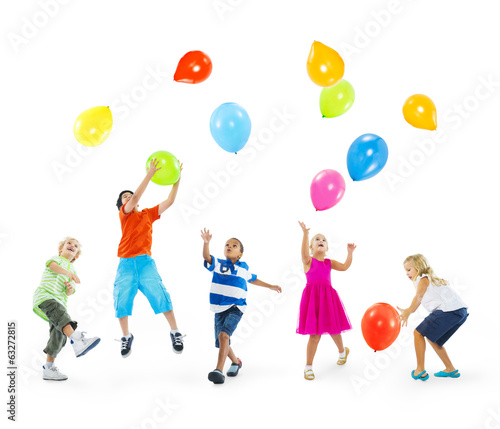 Multi-Ethnic Children Playing Balloons Together