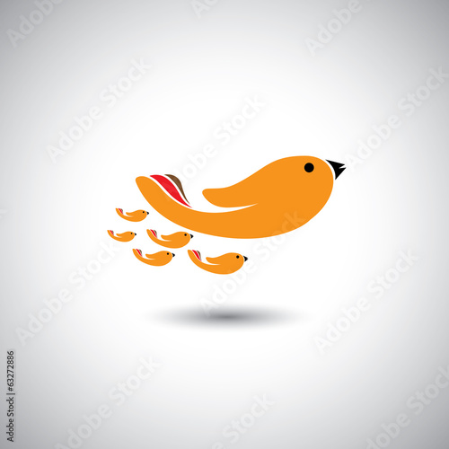 human hands as birds family - concept vector graphic