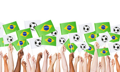 Raised Arms Holding Brazilian Flag and Banners