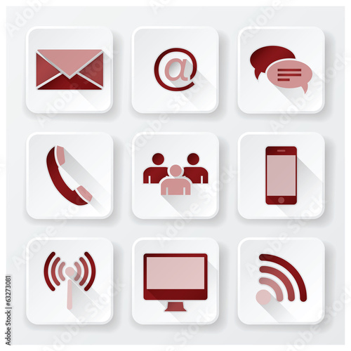 Communication Connection Flat Icons Set