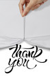 business hand pull rope open wrinkled paper show THANK YOU desig