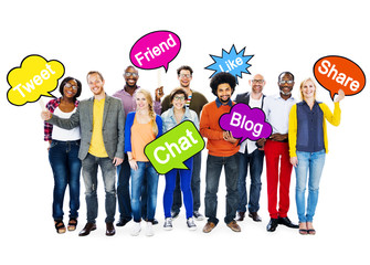 Multi-Ethnic People Holding Social Media Speech Bubbles