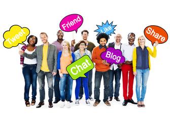 Multi-Ethnic People Holding Social Media Speech Bubbles