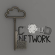design word CLOUD NETWORK  with metallic cloud and the key as co